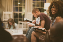 people gathered at a Bible study
