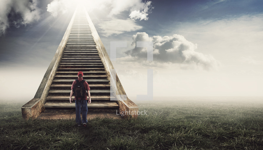 Stock photo man walking up a stairway to heaven by kevincarden