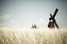 Jesus carrying the cross through a field.
